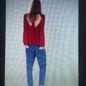 ZARA - red back neck tie blouse